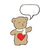τα κινούμενα σχέδια teddy αντέχουν με την καρδιά αγάπης με τη λεκτική φυσαλίδα Στοκ εικόνα με δικαίωμα ελεύθερης χρήσης