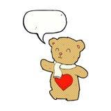 τα κινούμενα σχέδια teddy αντέχουν με την καρδιά αγάπης με τη λεκτική φυσαλίδα Στοκ Φωτογραφία