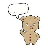 τα κινούμενα σχέδια teddy αντέχουν με τη λεκτική φυσαλίδα Στοκ Εικόνες