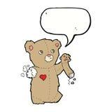 τα κινούμενα σχέδια teddy αντέχουν με το σχισμένο βραχίονα με τη λεκτική φυσαλίδα Στοκ Φωτογραφίες
