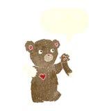τα κινούμενα σχέδια teddy αντέχουν με το σχισμένο βραχίονα με τη λεκτική φυσαλίδα Στοκ φωτογραφία με δικαίωμα ελεύθερης χρήσης
