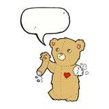 τα κινούμενα σχέδια teddy αντέχουν με το σχισμένο βραχίονα με τη λεκτική φυσαλίδα Στοκ Φωτογραφία
