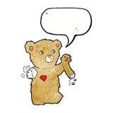 τα κινούμενα σχέδια teddy αντέχουν με το σχισμένο βραχίονα με τη λεκτική φυσαλίδα Στοκ φωτογραφίες με δικαίωμα ελεύθερης χρήσης