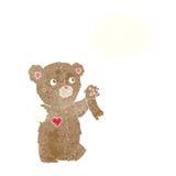 τα κινούμενα σχέδια teddy αντέχουν με το σχισμένο βραχίονα με τη σκεπτόμενη φυσαλίδα Στοκ Φωτογραφίες
