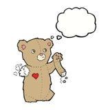 τα κινούμενα σχέδια teddy αντέχουν με το σχισμένο βραχίονα με τη σκεπτόμενη φυσαλίδα Στοκ εικόνα με δικαίωμα ελεύθερης χρήσης