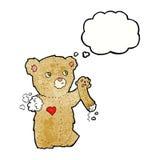 τα κινούμενα σχέδια teddy αντέχουν με το σχισμένο βραχίονα με τη σκεπτόμενη φυσαλίδα Στοκ εικόνες με δικαίωμα ελεύθερης χρήσης