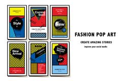 Τα κοινωνικά πρότυπα μέσων σκάουν το ύφος τέχνης και το σχέδιο, εμβλήματα promo μόδας για on-line να ψωνίσουν με τα γεωμετρικά στ Στοκ Εικόνες