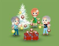 τα κορίτσια διακοσμούν το χριστουγεννιάτικο δέντρο Στοκ Εικόνα