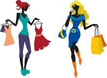 Τα κορίτσια κάνουν τις αγορές Διανυσματική απεικόνιση