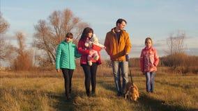 Τα κορίτσια με τον περίπατο γονέων στο πάρκο μαζί με το σκυλί στο λουρί και μιλούν, χαμογελούν απόθεμα βίντεο