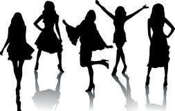 τα κορίτσια μόδας σκιαγρ&a Στοκ Εικόνα