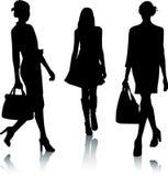 τα κορίτσια μόδας σκιαγρ&a Στοκ Εικόνες