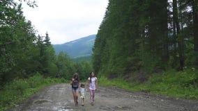 Τα κορίτσια περπατούν στα ξύλα απόθεμα βίντεο
