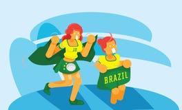 Τα κορίτσια της Βραζιλίας ομαδοποιούν τους ανεμιστήρες ενθαρρυντικούς στο στάδιο Στοκ Εικόνες