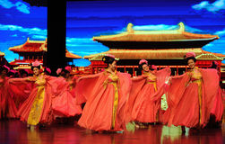 Τα κορίτσι-μεγάλα σενάρια show† κλίμακας δυναστείας του Tang ο δρόμος legend† Στοκ Εικόνες