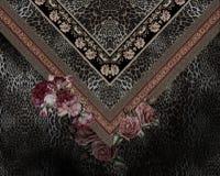 Τα κοσμήματα ανθίζουν το ζωικό Μαύρο τυπωμένων υλών κεντητικής στοκ εικόνα με δικαίωμα ελεύθερης χρήσης