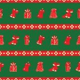 Τα κουδούνια και τα δώρα Χριστουγέννων ριγωτά επαναλαμβάνουν το σχέδιο διανυσματική απεικόνιση
