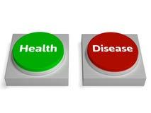 Τα κουμπιά ασθενειών υγείας παρουσιάζουν υγιή ή ασθένεια διανυσματική απεικόνιση