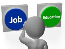 Τα κουμπιά εκπαίδευσης εργασίας παρουσιάζουν την απασχόληση ή επιλογή κολλεγίου απεικόνιση αποθεμάτων