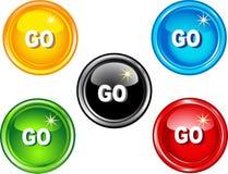 τα κουμπιά πηγαίνουν Στοκ Φωτογραφίες