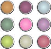 τα κουμπιά χρωμάτισαν το μαλακό Ιστό εννέα Στοκ Φωτογραφία