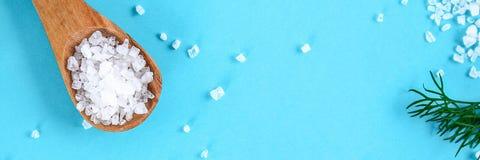 Τα κρύσταλλα της μεγάλης θάλασσας αλατίζουν σε ένα ξύλινους κουτάλι και έναν άνηθο σε έναν μπλε πίνακα Υπόβαθρο για τη διαφήμιση  στοκ εικόνες με δικαίωμα ελεύθερης χρήσης