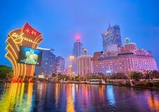 Τα κτήρια της χαρτοπαικτικής λέσχης στο Μακάο, Κίνα Στοκ Φωτογραφία