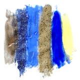 Τα κτυπήματα βουρτσών του χρυσού και ακτινοβολούν υπόβαθρο χρωμάτων διανυσματική απεικόνιση