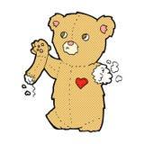τα κωμικά κινούμενα σχέδια teddy αντέχουν με το σχισμένο βραχίονα Στοκ Εικόνα