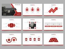 Τα κόκκινα αφηρημένα πρότυπα παρουσίασης, επίπεδο σχέδιο προτύπων στοιχείων Infographic θέτουν για το φυλλάδιο ιπτάμενων φυλλάδιω απεικόνιση αποθεμάτων