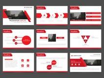Τα κόκκινα αφηρημένα πρότυπα παρουσίασης, επίπεδο σχέδιο προτύπων στοιχείων Infographic θέτουν για την αγορά φυλλάδιων ιπτάμενων  διανυσματική απεικόνιση