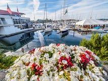 Τα κόκκινα και άσπρα λουλούδια διακοσμούν τον περίπατο παραλιών στο Sidney, Vanco Στοκ φωτογραφία με δικαίωμα ελεύθερης χρήσης