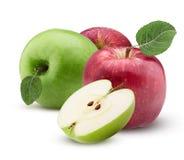 Τα κόκκινα και πράσινα μήλα ένα που κόβονται στο μισό με το φύλλο με το νερό μειώνονται Στοκ φωτογραφία με δικαίωμα ελεύθερης χρήσης