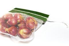 Τα κόκκινα κρεμμύδια στο πλέγμα τοποθετούν σε σάκκο και μερικά στο πάτωμα που απομονώνεται στο άσπρο backg Στοκ εικόνες με δικαίωμα ελεύθερης χρήσης