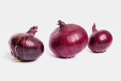Τα κόκκινα κρεμμύδια σε ένα άσπρο υπόβαθρο, είναι Στοκ Εικόνες