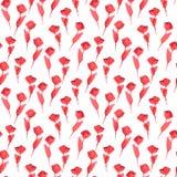 Τα κόκκινα τριαντάφυλλα επαναλαμβάνουν το Floral άσπρο υπόβαθρο ταπετσαριών Στοκ εικόνα με δικαίωμα ελεύθερης χρήσης