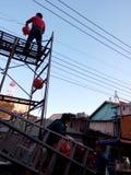 Τα κόκκινα φανάρια κλείνονται το τηλέφωνο, στην Ταϊβάν στοκ εικόνα