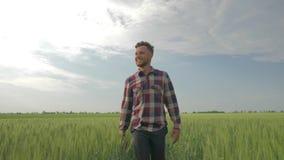 Τα κύματα αγροτών χαμόγελου το χέρι του και παρουσιάζουν σημάδι έγκρισης περπατώντας μέσω του τομέα κριθαριού στο υπόβαθρο του μπ απόθεμα βίντεο