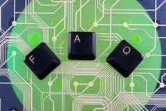 Τα κλειδιά πληκτρολογίων σχεδίασαν τη λέξη faq Στοκ φωτογραφίες με δικαίωμα ελεύθερης χρήσης