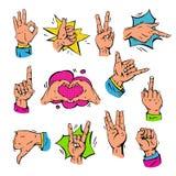 Τα λαϊκά δάχτυλα χεριών τέχνης που παρουσιάζουν τη χειρονομία και ανθρώπινα χέρια συμβόλων διαφορετική λαβή popart θέτουν το σήμα διανυσματική απεικόνιση