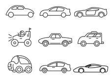 Τα λεπτά εικονίδια γραμμών θέτουν, μεταφορά, πλάγια όψη αυτοκινήτων, δ απεικόνιση αποθεμάτων