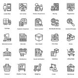 Τα λογιστικά διανυσματικά εικονίδια γραμμών παράδοσης θέτουν 8 απεικόνιση αποθεμάτων