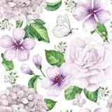 Τα λουλούδια δέντρων της Apple, hydrangea ανθίζουν, πέταλα και φύλλα στο ύφος watercolor στο άσπρο υπόβαθρο άνευ ραφής πρότυπο γι ελεύθερη απεικόνιση δικαιώματος