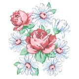 Τα λουλούδια δίνουν το συρμένο, floral σχέδιο κεντητικής, τυπωμένη ύλη υφάσματος, διανυσματική floral διακόσμηση Σύνθεση λουλουδι Στοκ φωτογραφίες με δικαίωμα ελεύθερης χρήσης