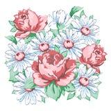 Τα λουλούδια δίνουν το συρμένο, floral σχέδιο κεντητικής, τυπωμένη ύλη υφάσματος, διανυσματική floral διακόσμηση Σύνθεση λουλουδι Στοκ Εικόνες