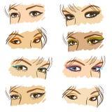 τα μάτια που τίθενται τις διανυσματικές γυναίκες Ελεύθερη απεικόνιση δικαιώματος