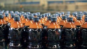 Τα μέρη των μπουκαλιών μπύρας σε έναν μεταφορέα, κλείνουν επάνω απόθεμα βίντεο
