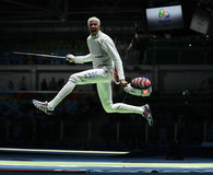 Τα μίλια chamley-Watson ξιφομάχων των Ηνωμένων Πολιτειών ανταγωνίζονται φύλλο αλουμινίου ομάδων των ατόμων του Ρίο 2016 Ολυμπιακο Στοκ Εικόνα