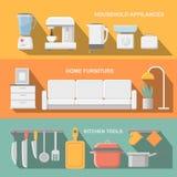 Τα μαγειρεύοντας εργαλεία και ο εξοπλισμός σκευών για την κουζίνα, εξυπηρετούν τα γεύματα, στοιχεία προετοιμασιών τροφίμων απεικόνιση αποθεμάτων