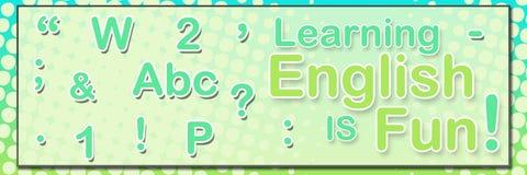 Τα μαθαίνοντας αγγλικά είναι διασκέδαση οριζόντια Στοκ Φωτογραφία